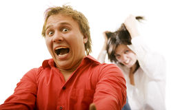 Funny horror on the faces Stock Photos