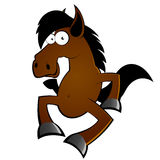 Funny Horse. An illustrated cartoon character of a funny horse happily dancing, isolated on white background Stock Photo