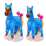 Funny horse in the blue jumpsuit. Vetor isolated Royalty Free Stock Photos