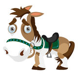 Funny horse closeup in cartoon style.  Royalty Free Stock Photo