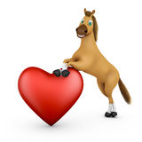 Funny horse and heart Royalty Free Stock Photo