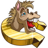 Funny horse in horseshoe. The laughing horse in the Golden horseshoe stock illustration