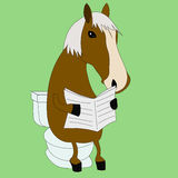 Funny horse reading a newspaper in the WC Stock Image
