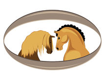 Funny horse. Two cute horses on a white background Royalty Free Stock Images