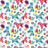 Funny horse wallpaper pattern flower bird Stock Photography