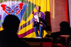 Funny host of Oiran Show Geisha Show at Noboribetsu Date Judaimura history theme park highlighting the Edo Period Stock Image