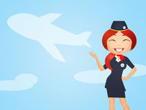 Funny hostess. Funny illustration of hostess in airport Royalty Free Stock Images