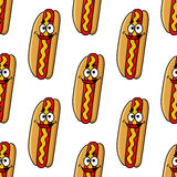 Funny hot dog characters seamless pattern Stock Photos