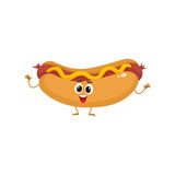 Funny hot dog fast food kids menu character Royalty Free Stock Photo