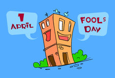 Funny House Building Cartoon Character Fool Day April Holiday Greeting Card Royalty Free Stock Photos