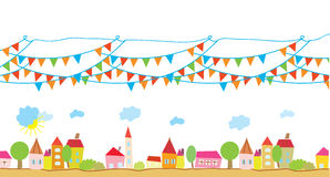 Funny house and flags background Royalty Free Stock Image