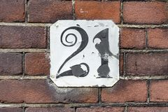 House number twenty one 21. Funny house number twenty one 21 Stock Photography