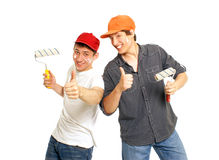 Funny house painters Royalty Free Stock Photo