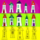 funny house. Set a vector funny colorful house cartoon vector illustration Stock Photos