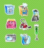 Funny household appliances cartoon characters set. Microwave oven, toaster, blender, kettle, stove, washing machine, vacuum cleaner icons. Kitchen gadgets Stock Image