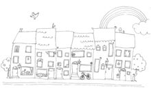 Funny houses in happy city b/w. Funny houses in an happy city. Black and white illustration. Ink Stock Photography