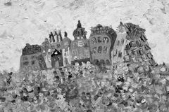 Funny houses painting in grey colors stock image