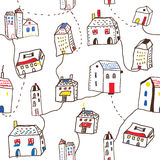 Funny houses in the town seamless pattern Royalty Free Stock Photos