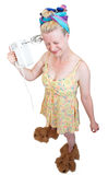 Funny housewife. Very funny housewife holding object Royalty Free Stock Photos