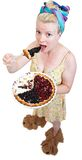 Funny housewife. Very funny housewife holding object Stock Images