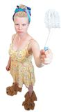 Funny housewife. Very funny housewife holding object Royalty Free Stock Image