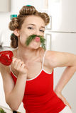 Funny housewife Royalty Free Stock Image