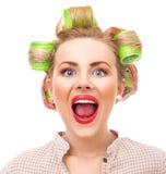 Funny housewife Stock Image