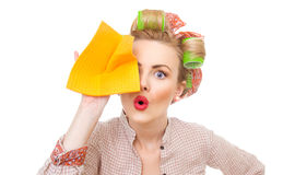 Funny housewife Stock Image