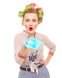 Funny housewife Royalty Free Stock Photo