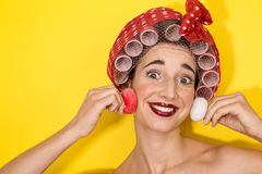 Funny housewife applying makeup Royalty Free Stock Image