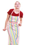 Funny housewife or barista wearing kitchen apron isolated Royalty Free Stock Image