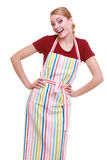 Funny housewife or barista wearing kitchen apron isolated Stock Photo