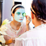 Funny housewife beauty green clay mask Royalty Free Stock Images