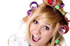 Funny housewife with curlers Stock Photos