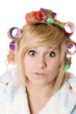 Funny housewife with curlers Stock Photo