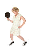 Funny housewife with frying pan Royalty Free Stock Photo
