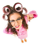 Funny housewife with nerd glasses Royalty Free Stock Photography
