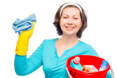 Funny housewife with rag and a bucket Stock Images