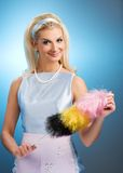 Funny housewife retro portrait royalty free stock photography
