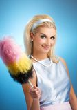 Funny housewife retro portrait Royalty Free Stock Image