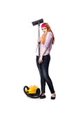 The funny housewife with vacuum cleaner isolated on white Stock Photo