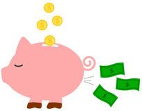 Funny humor cartoon piggy money bank concept illustration Stock Photo