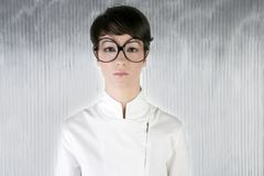 Funny humor futuristic woman big glasses Stock Images
