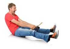 Funny humorous man with skateboard. On white background Royalty Free Stock Photography