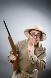 Funny hunter in hunting concept Royalty Free Stock Photo