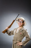 The funny hunter in hunting concept Stock Photos
