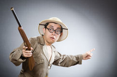 The funny hunter in hunting concept Royalty Free Stock Photo