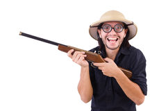 Funny hunter wearing Stock Photo