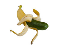 Funny hybrid banana and cucumber Royalty Free Stock Photo