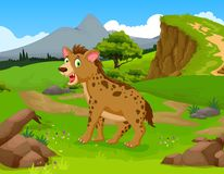 Funny hyena cartoon in the jungle with landscape background Royalty Free Stock Images